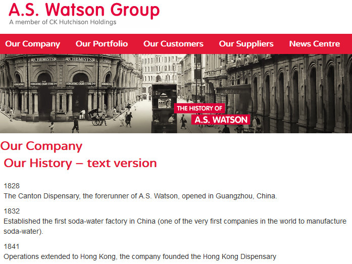 A.S. Watson, founded 1828